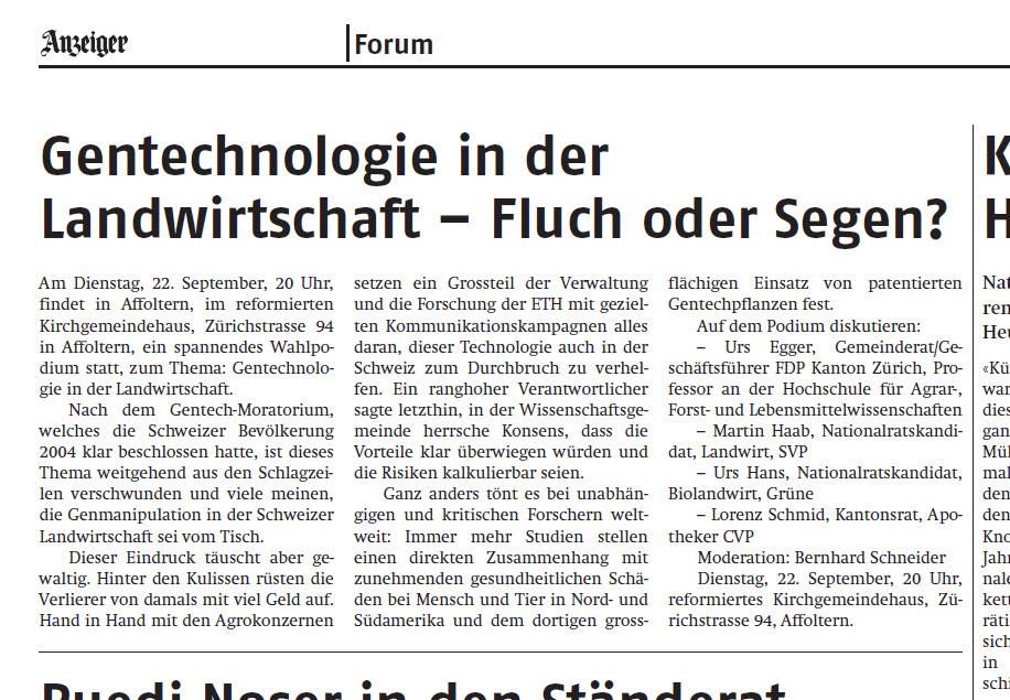Reckenholz, Gentechnologie, ETH, Agroscope
