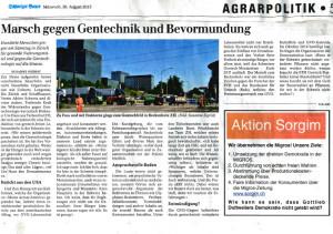 Schweizer Bauer, GVO, Demo